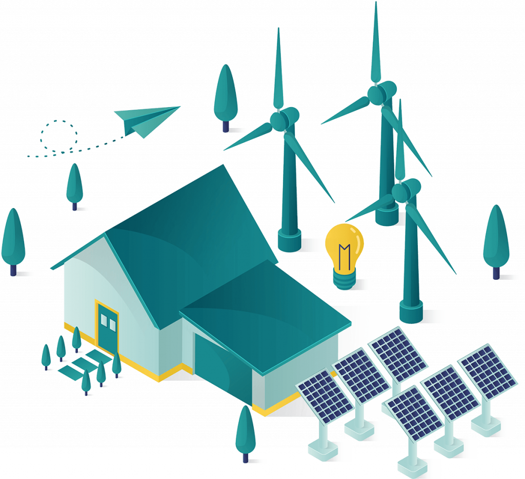 Solar panels & wind turbines connected to a house illustraton.