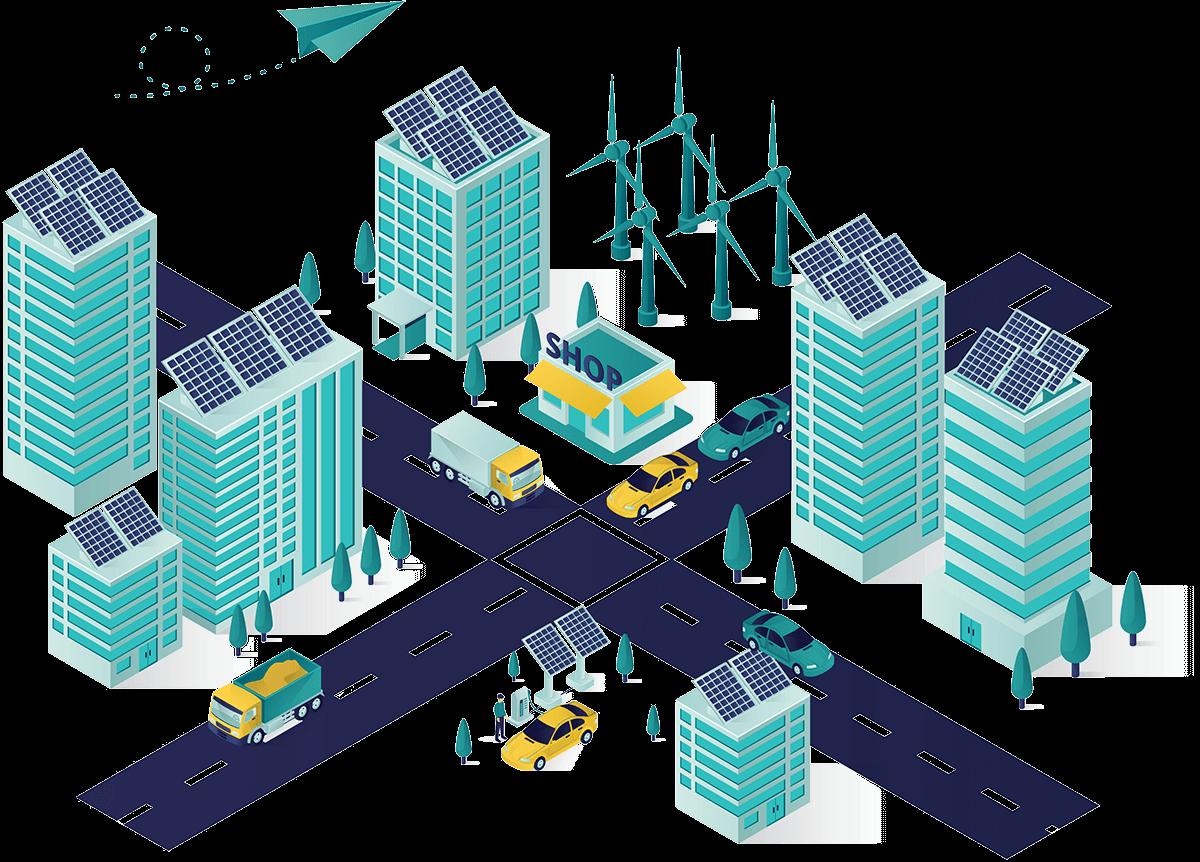 Solar panels on skyscrapers.